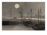 Sailboats Moored under the Moon