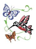 Hummingbird & Butterflies