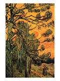 Pine Trees Against a Red Sky with Setting Sun Reproduction d'art par Vincent Van Gogh