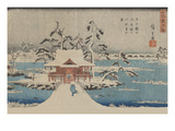 Snow Scene of Benzaiten Shrine in Inokashira Pond (Inokashira No Ike Benzaiten No Yashiro)