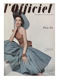 L'Officiel  June 1952 - Robe de Plage de Grès Shantung Turquoise de Jacques Léonard en Cte