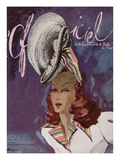 L'Officiel  May-June 1945 - Chapeau de Coralie -Tissu de René Véron