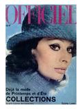 L'Officiel  1975 - Sophia Loren  Chapeau de Jean Barthet  en Mousseline de Mohair Surpiquée