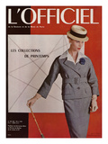 L'Officiel  March 1956 - Tailleur de Christian Dior en Prince de Galles de A Leleu et Cie