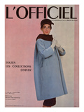 L&#39;Officiel  October 1955 - Balenciaga  Manteau Sept-Huiti&#232;mes en Velours C&#244;tel&#233;