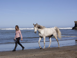 Horse and Lady Walking on Beach (Photo Released)  California