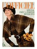 L'Officiel  1971 - Manteau de Wébé en Velours de Laine Écossais de Léonard