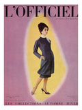 L'Officiel  September 1959 - Robe de Christian Dior en Grizki de Lesur