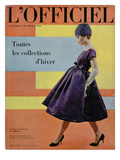 L&#39;Officiel  October 1958 - Robe de Cocktail de Givenchy  Chapeau Ex&#233;cut&#233; en Voilette de Soie