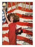 L'Officiel  December 1975 - Robe de Pierre Cardin en Crêpe Rouge d'Abraham  Bijoux de M Gérard