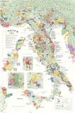 Carte des vins en Italie Poster