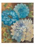 Pretty Blue Dahlias 1 Reproduction d'art par Vera Hills