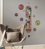 Art of Board Skateboard and Dots Peel & Stick Giant Wall Decals