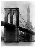 Brooklyn Bridge and Woolworth Building  1921