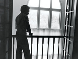 Sugar Ray Leonard   Stands on His House Balcony  Washington DC  1983