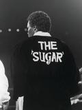 """Sugar Ray Leonard  Enters the Ring Wearing """"The Sugar"""" Slogan on His Robe  May 11  1984"""