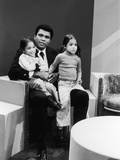 Muhammad Ali with Twin Daughters Jamillah and Rasheda  1974
