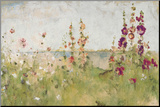 Hollyhocks by the Sea