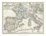 Mitchell's Map of France  Spain & Italy