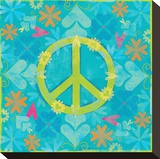 Peace Sign Floral Hearts I