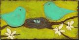Turquoise Birds with Nest II