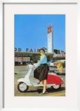 Woman on Scooter  Retro