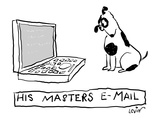 Dog sitting next to laptop computer  with ear perked up as in RCA Victor a… - Cartoon