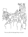 """Come now  folks  this baby must belong to one of you"" - New Yorker Cartoon"