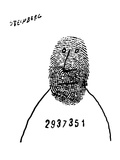 Prisoner with number across chest has thumb print as a face - New Yorker Cartoon
