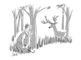 Golfer is in the rough looking for his golf ball and finds it stuck on a d… - New Yorker Cartoon