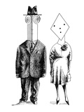 Couples and individuals with unusually shaped faces - New Yorker Cartoon