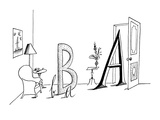 Upper and lower case A's and B's in a living room setting - New Yorker Cartoon