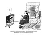 """""""Stand erect  feet twelve inches apart Now bend forward to touch floor be…"""" - New Yorker Cartoon"""