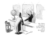 """Mr Calkins takes you on to here  Madam  and then we put you in Mr Samso…"" - New Yorker Cartoon"