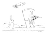 A rabbit walking upright down a road sees death as a rabbit skeleton with  - New Yorker Cartoon