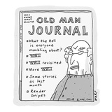 A publication titled 'Old Man Journal' lists content mostly regarding WWII… - Cartoon