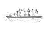 all standing in a line in the boat with him - New Yorker Cartoon