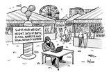 A sketchy-looking man sits at a table in a carnival with a sign behind tha… - New Yorker Cartoon