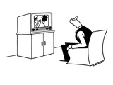 Man watching televised ball game looks over his shoulder for ball that pla… - New Yorker Cartoon