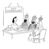 GIFT COUNSELLOR is counseling the three wise men - New Yorker Cartoon
