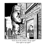 """OK I'm at the window To the right Your right or my right"" - New Yorker Cartoon"