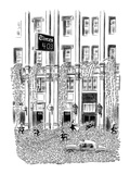 Thousands of words cascade out of NY Times building - New Yorker Cartoon