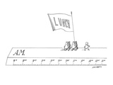 Man leads a group of men carrying a banner that reads 'Lunch' across the t… - New Yorker Cartoon