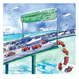 Red cars drop off a bridge under a sign that says Red Sox Fans  The other… - New Yorker Cartoon