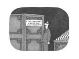 Man in a church standing in front of a confessional reads a sign: 'IF THE … - Cartoon