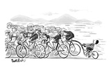 A group of bikers race competitively At the end of the cluster one kid on… - New Yorker Cartoon