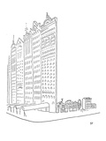 Large impressive facades stand in front of smaller homes - New Yorker Cartoon
