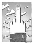New Trump building West side shore  in shape of obscene gesture - New Yorker Cartoon