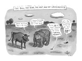 """The Bull  the Bear  the Ant  and the Grasshopper"" - New Yorker Cartoon"