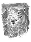 King Kong playing with Baby Kong  The infant is batting at a biplane mobi… - New Yorker Cartoon